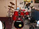 Main Kit is a Yamaha Oak Custom 6 piece with a Pearl Free Floating Copper shell snare